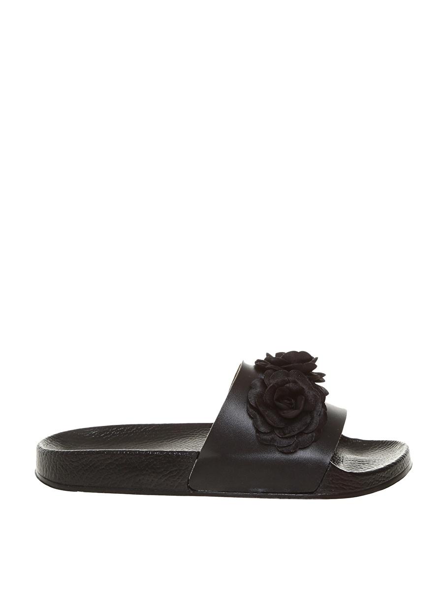 38 Siyah Frisbees Kadın Çiçekli Terlik Ayakkabı Çanta Sandalet