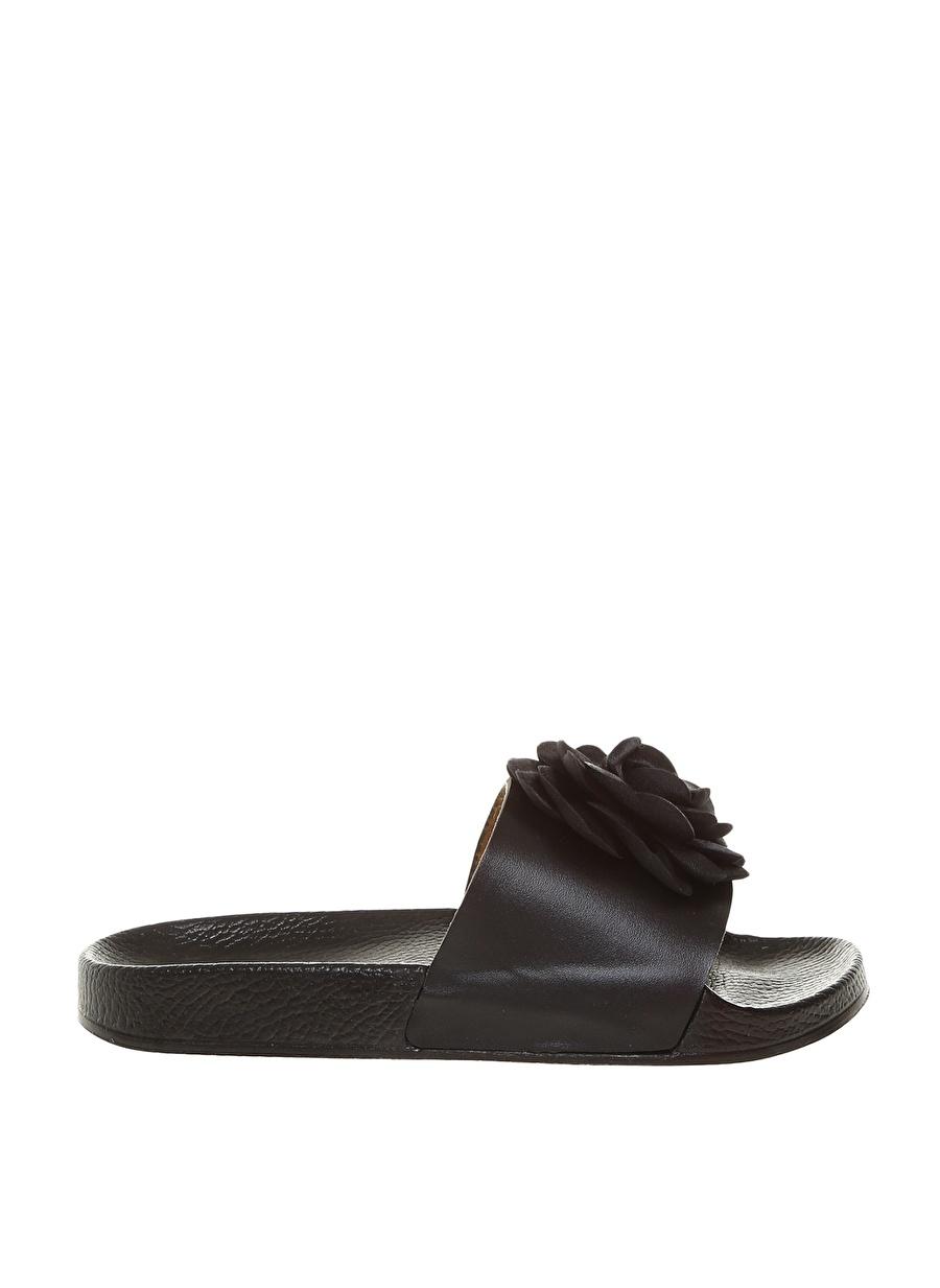 36 Siyah Frisbees Kadın Çiçekli Terlik Ayakkabı Çanta Sandalet