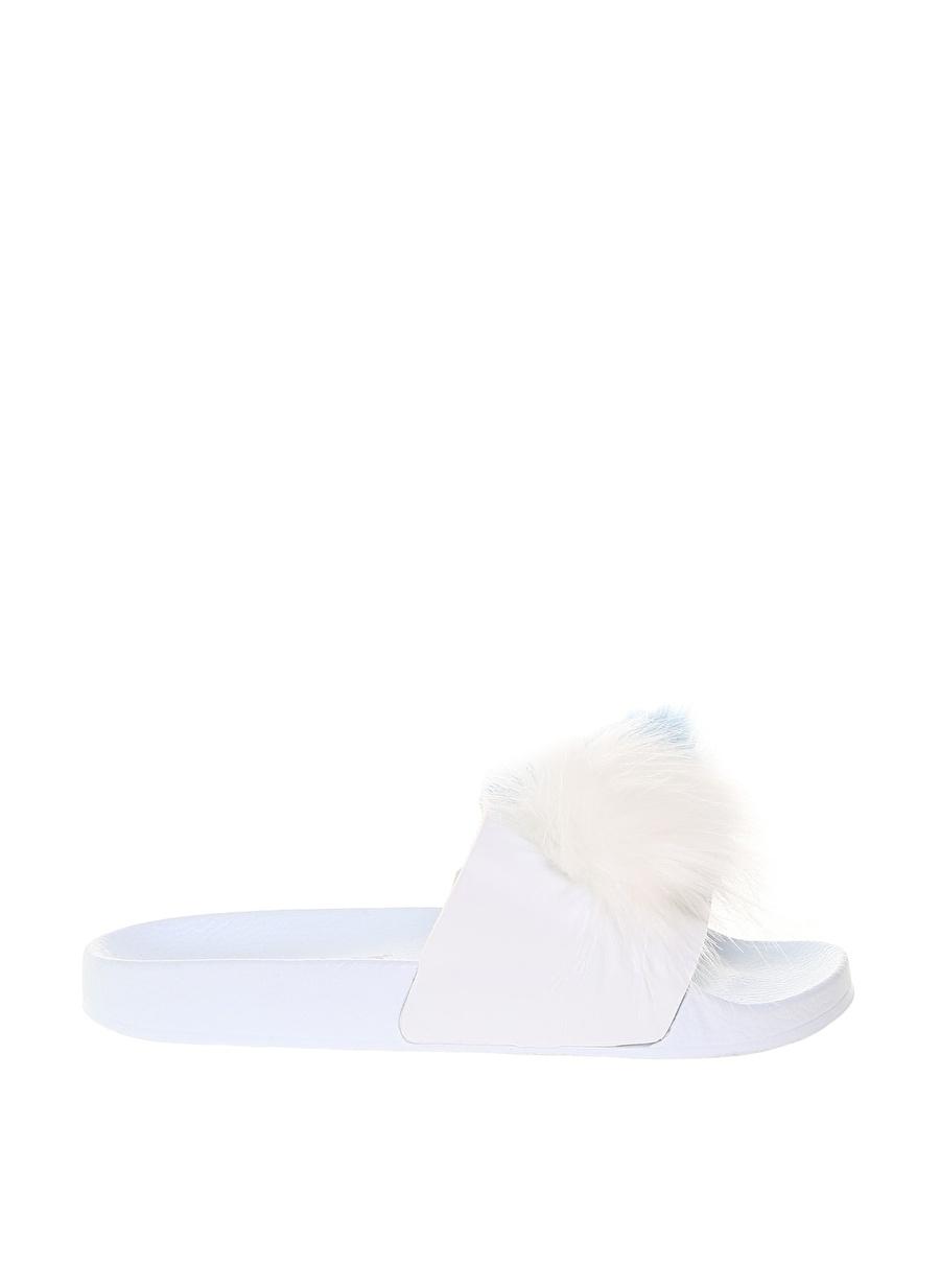 37 Beyaz Frisbees Kadın Tüylü Terlik Ayakkabı Çanta Sandalet