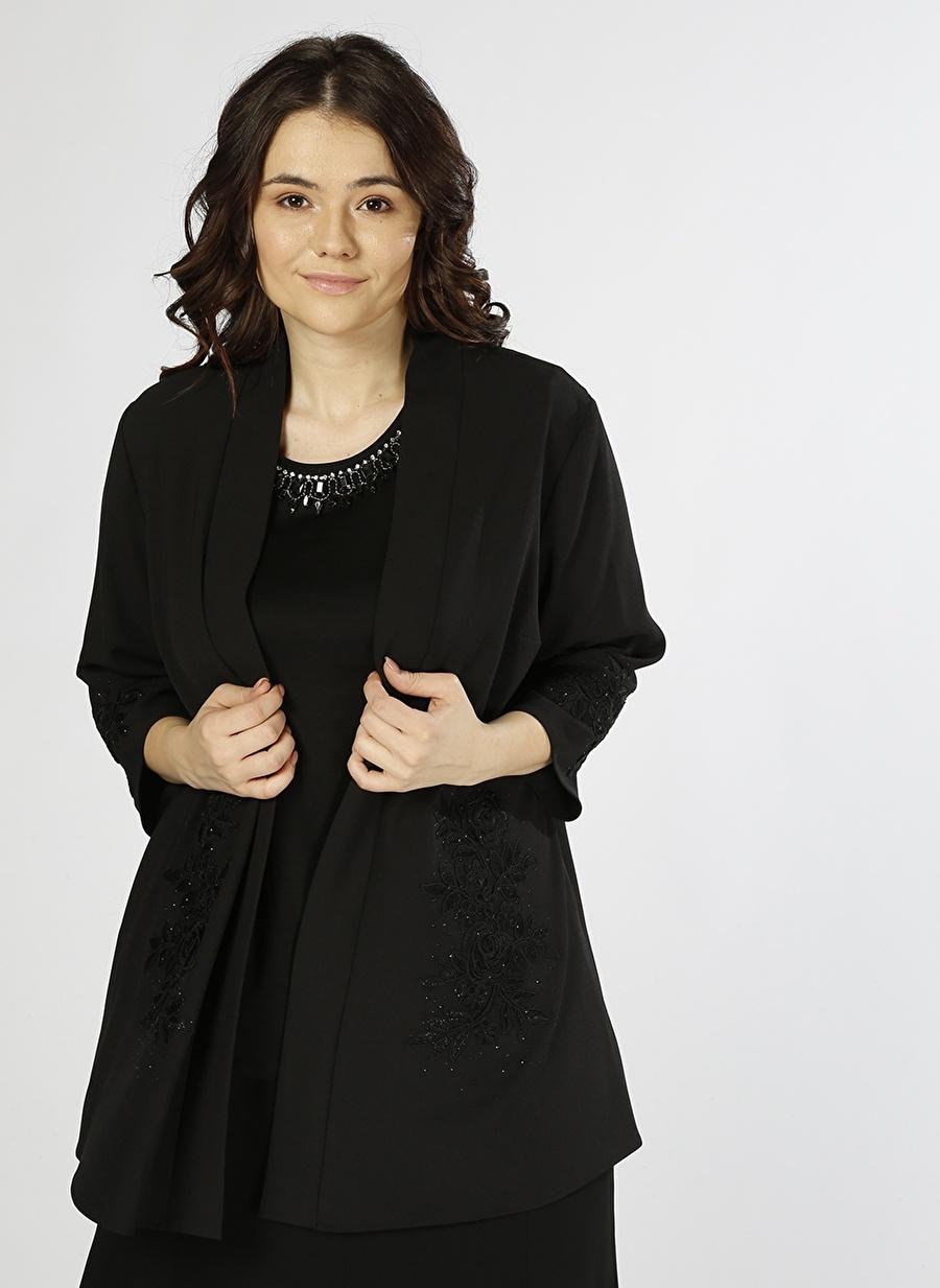 40 Siyah Ekol Taş Detaylı Ceket Kadın Büyük Beden