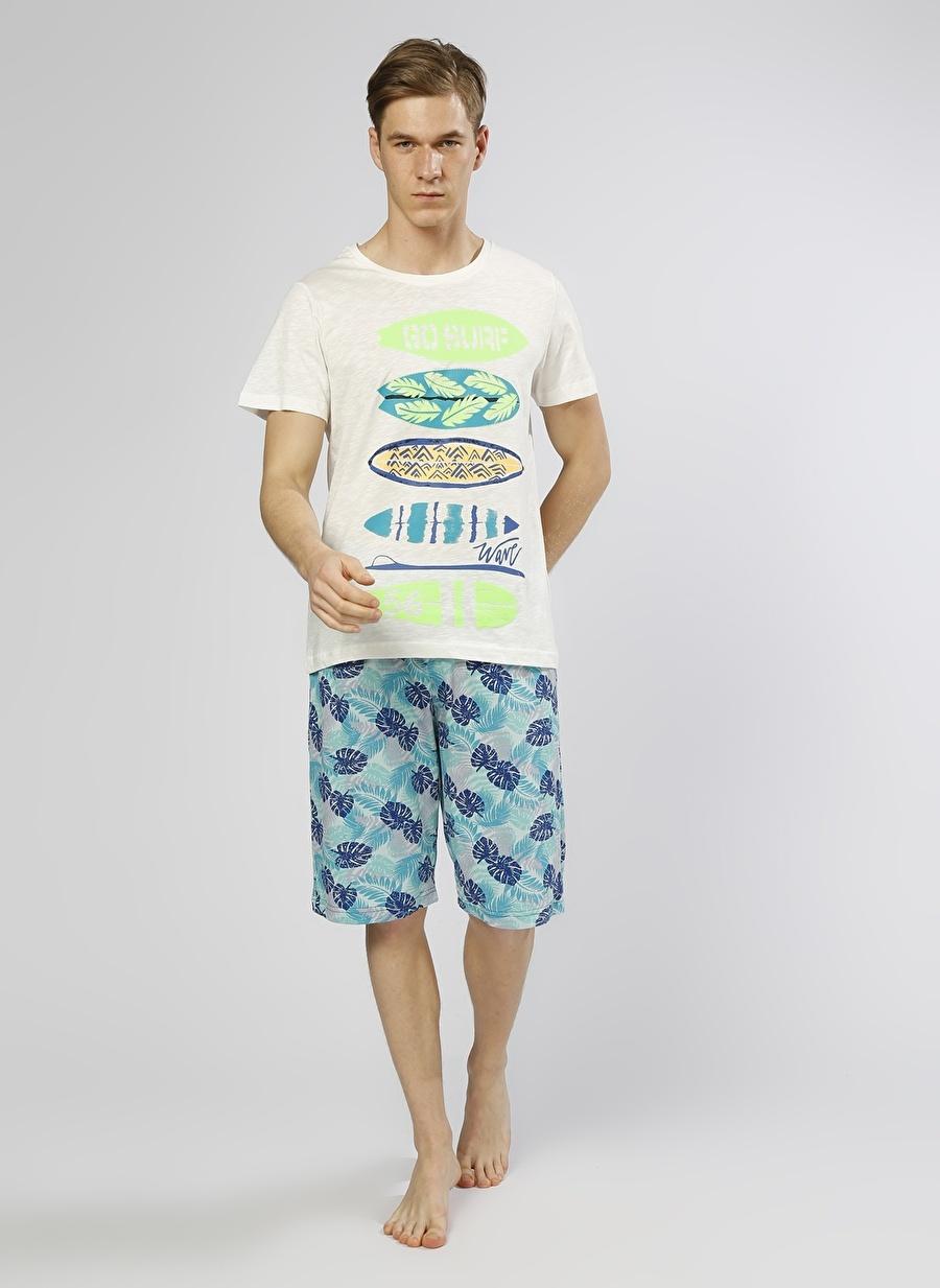 XL Krem Roly Poly Yaprak Desenli 2\'li Pijama Takımı Erkek Ev Giyim