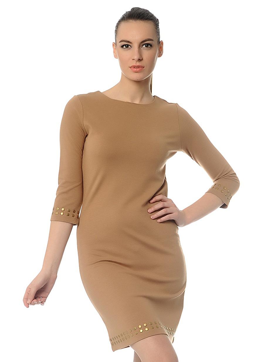 XL Deve Tüyü Melanj Mia Camel Elbise Kadın Giyim