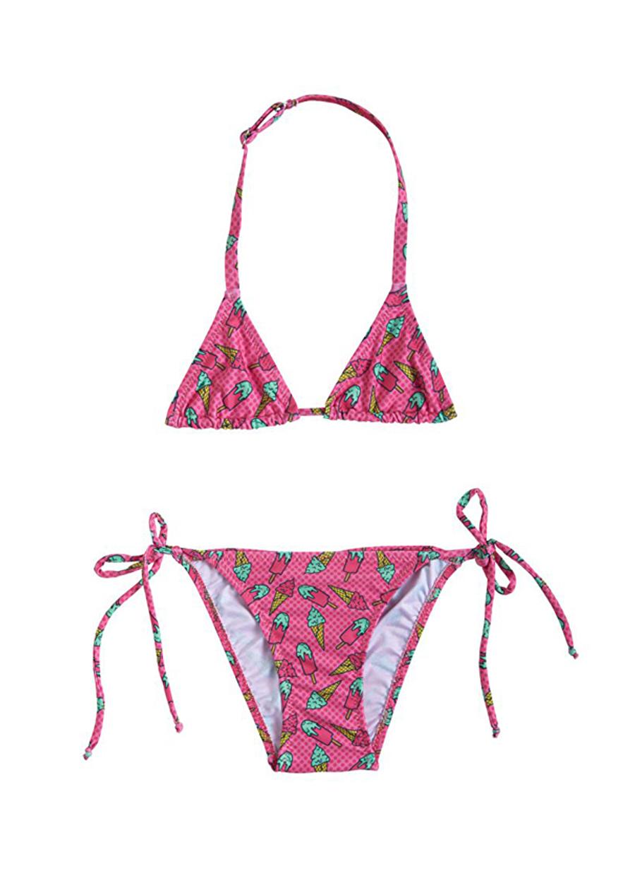 4 Yaş Kadın Çok Renkli Slipstop Ice Cream Bikini Takım Çocuk Plaj giyim