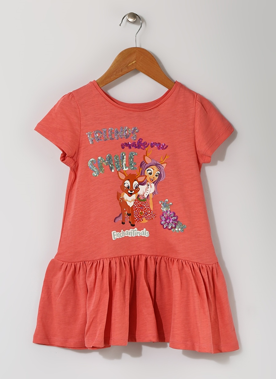 4 Yaş Kadın Mercan Enchantimals Kız Çocuk Pul İşlemeli Elbise Giyim Tunik