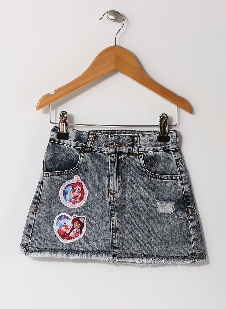 7-8 Yaş Kadın Neon Lacivert Enchantimals Çocuk Baskılı İndigo Etek Giyim