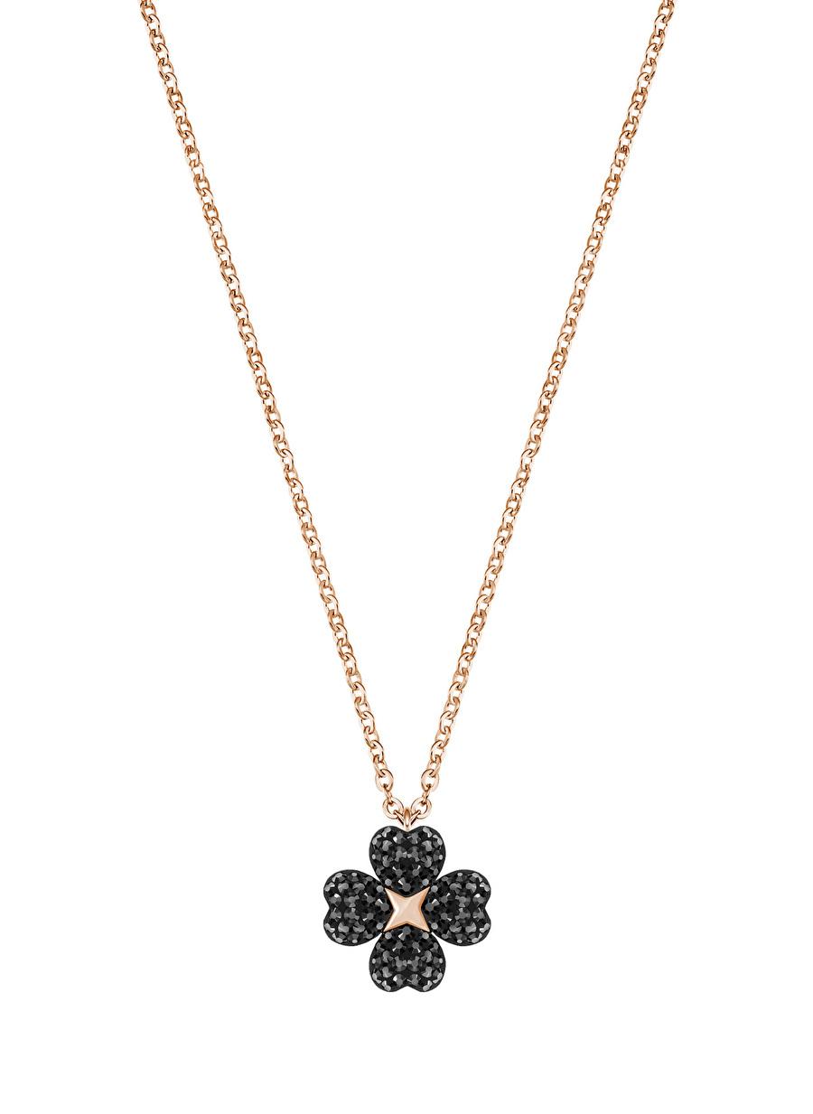Standart Kadın Renksiz Swarovski 5420246 Latisha Flower Siyah Rose Altın Kaplama Kolye Jewelry Accessories (Jwg)