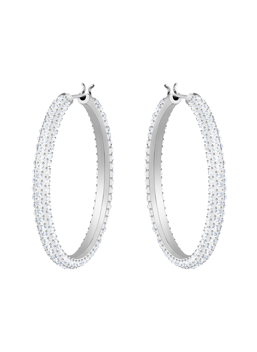 Standart Kadın Renksiz Swarovski 5389432 Stone Hoop Beyaz Rodyum Kaplama Küpe Jewelry Accessories (Jwg)