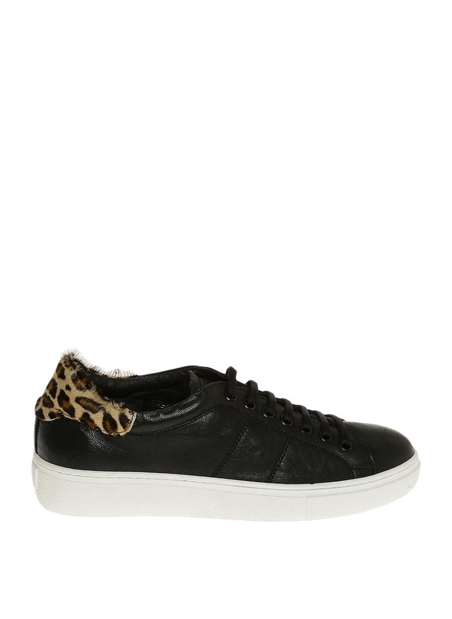 37 Siyah Dienneg Leopar Desenli Ayakkabı Çanta Kadın Düz