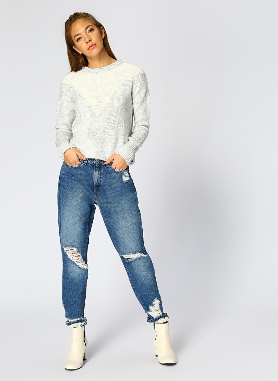 30-32 Renksiz Only Eskitme Tasarımlı İndigo Denim Pantolon Kadın Giyim Jean Regular