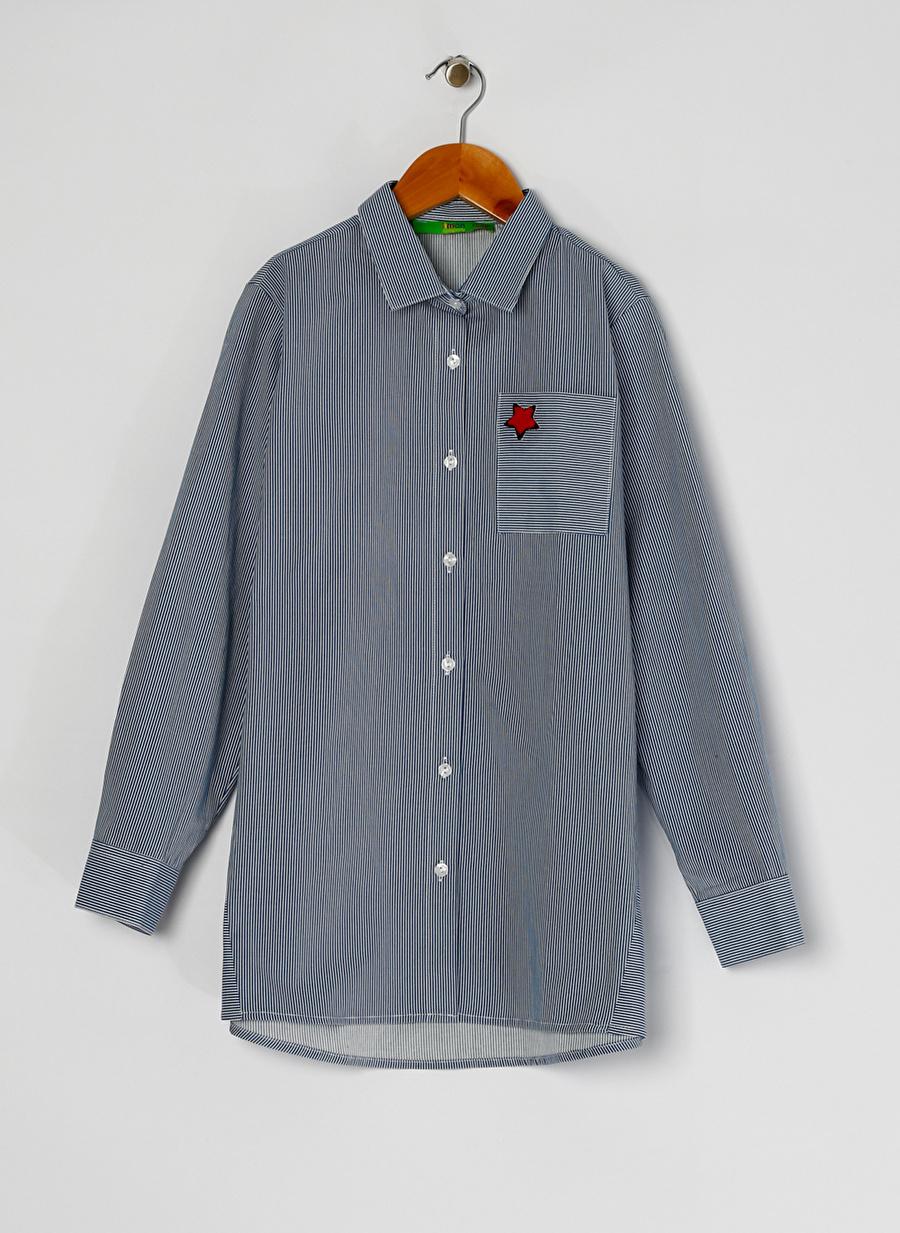 6 Yaş Kadın Mavi - Buz Limon Kız Çocuk Çizgili Lacivert Beyaz Gömlek Giyim