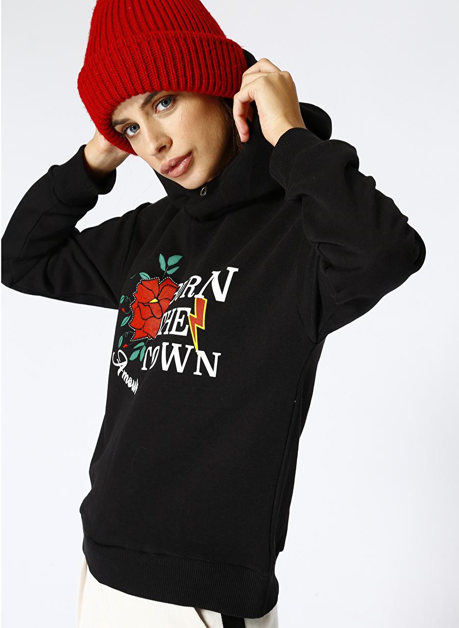 Black Pepper Kadın Siyah Sweatshirt
