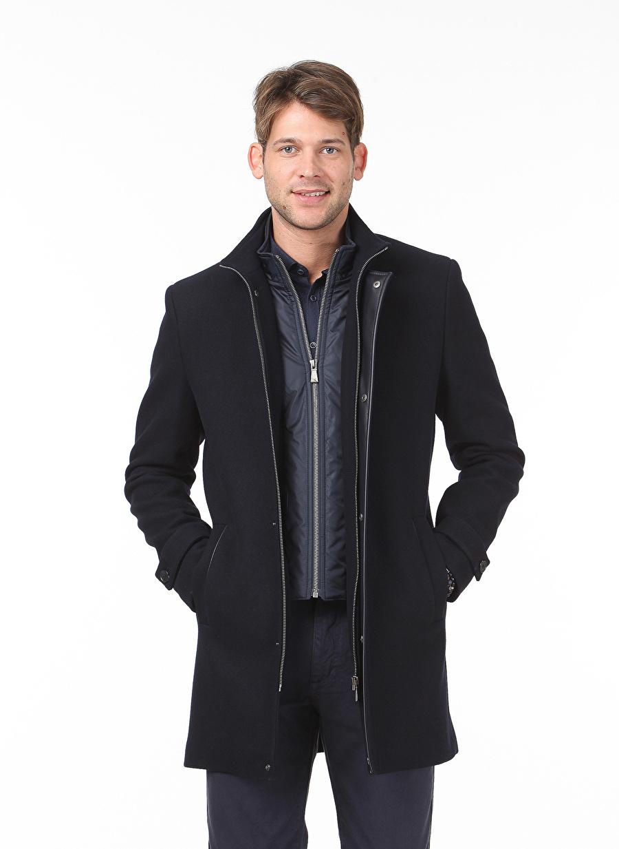 52 Koyu Lacivert Kip Yün Siyah Kaşe Palto Erkek Dış Giyim Trençkot Pardösü