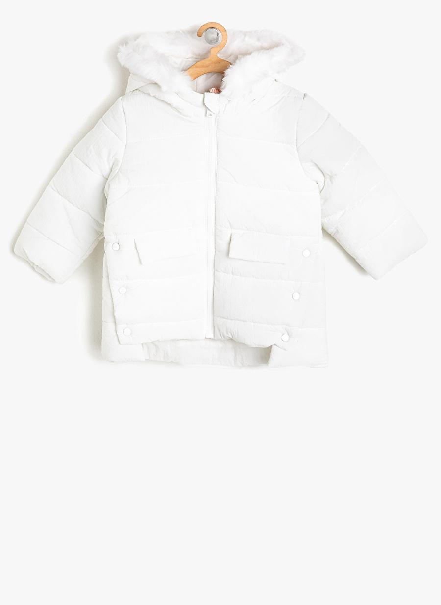 18 Ay Kadın Beyaz Koton Kaban Çocuk Dış Giyim Mont