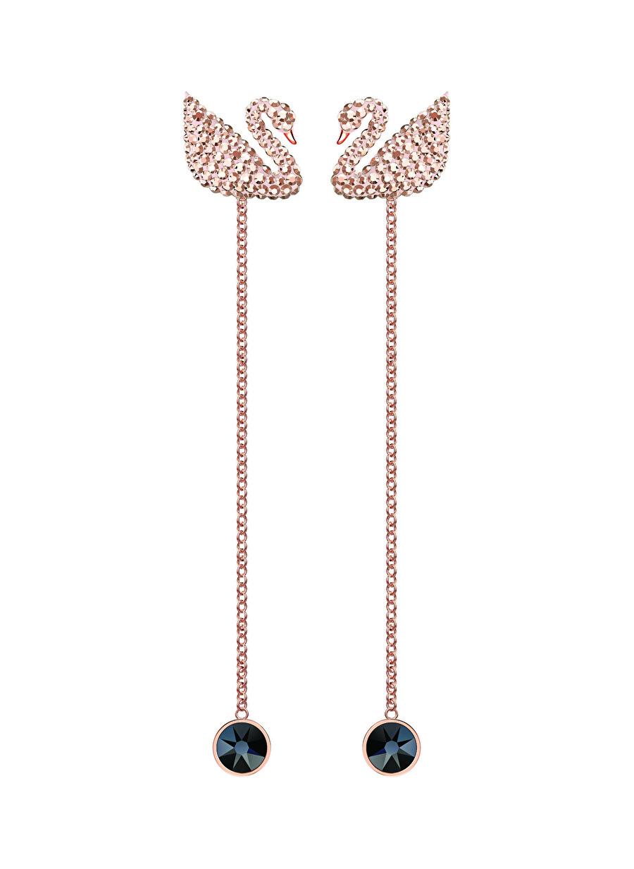Standart Kadın Renksiz Swarovski 5373164 Iconic Swan Beyaz Rose Altın Kaplama Küpe Jewelry Accessories (Jwg)