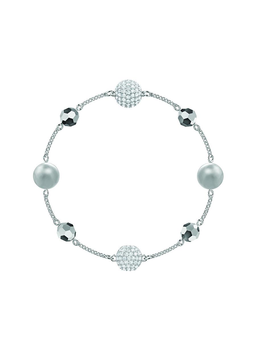 Standart Kadın Renksiz Swarovski 5437865 Remix Top Taşlı Gri Rodyum Kaplama Bileklik Jewelry Accessories (Jwg)