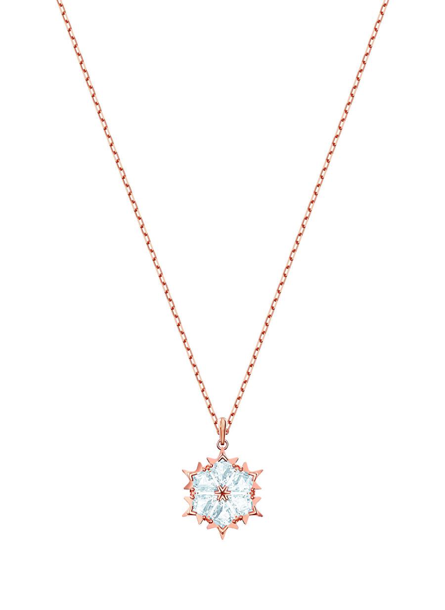 Standart Kadın Renksiz Swarovski 5428431 Magic Beyaz Rose Altın Kaplama Kolye Jewelry Accessories (Jwg)