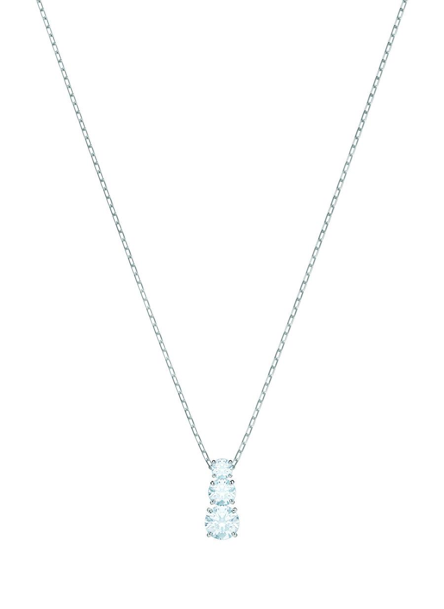 Standart Kadın Renksiz Swarovski 5414970 Attract Trilogy Round Beyaz Rodyum Kaplama Kolye Jewelry Accessories (Jwg)