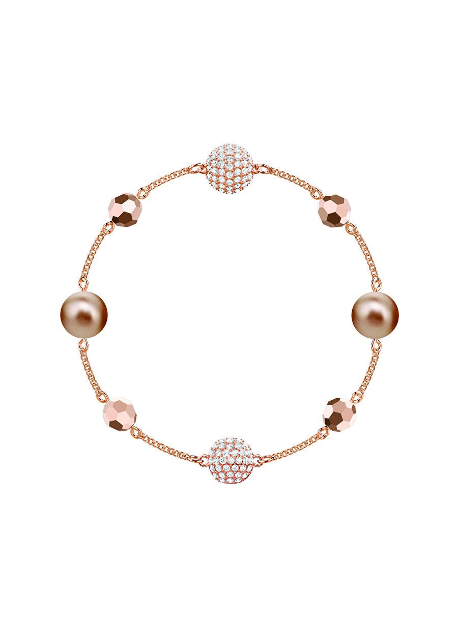 Standart Kadın Renksiz Swarovski 5437890 Remix Bead Rose Altın Kaplama Bileklik Jewelry Accessories (Jwg)