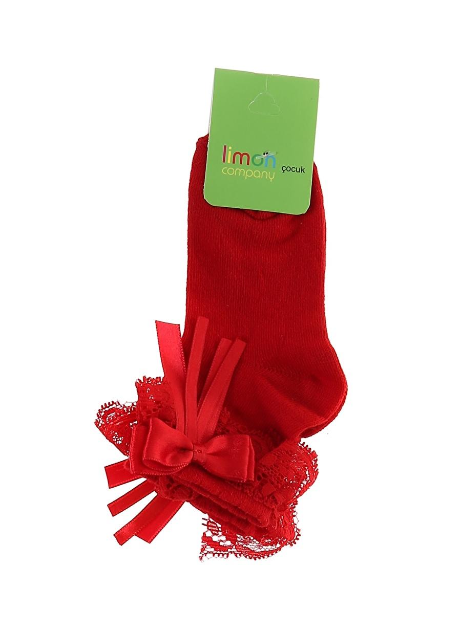 Standart Kadın Kırmızı Limon Kız Çocuk Dantelli Spor Çorap Ev İç Giyim