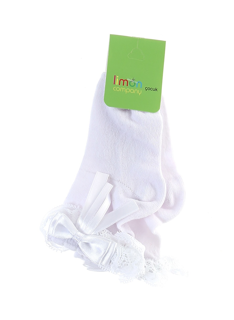 Standart Kadın Beyaz Limon Kız Çocuk Dantelli Spor Çorap Ev İç Giyim