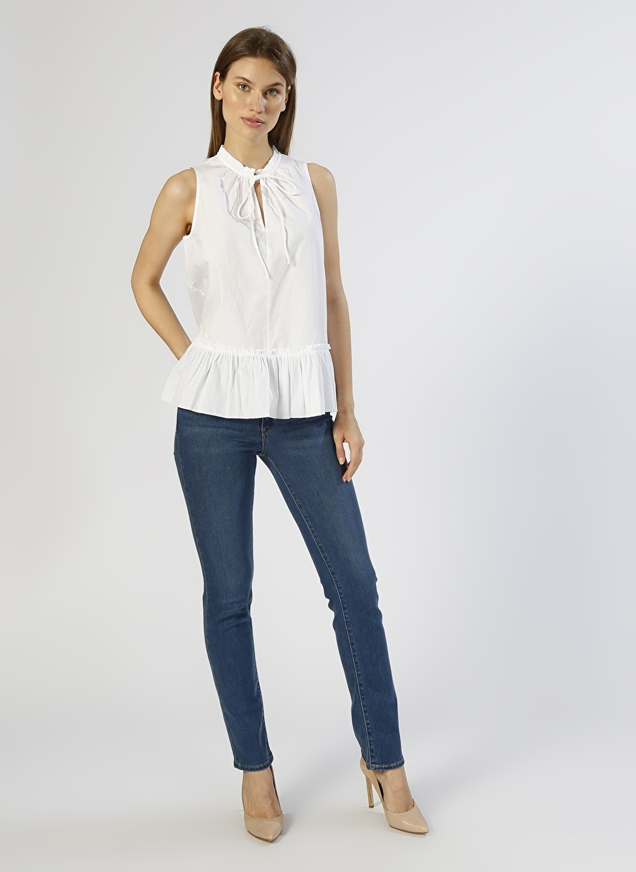 Standart Kadın Neon Lacivert Levis 714 Straight İndigo Denim Pantolon Pants Ladies