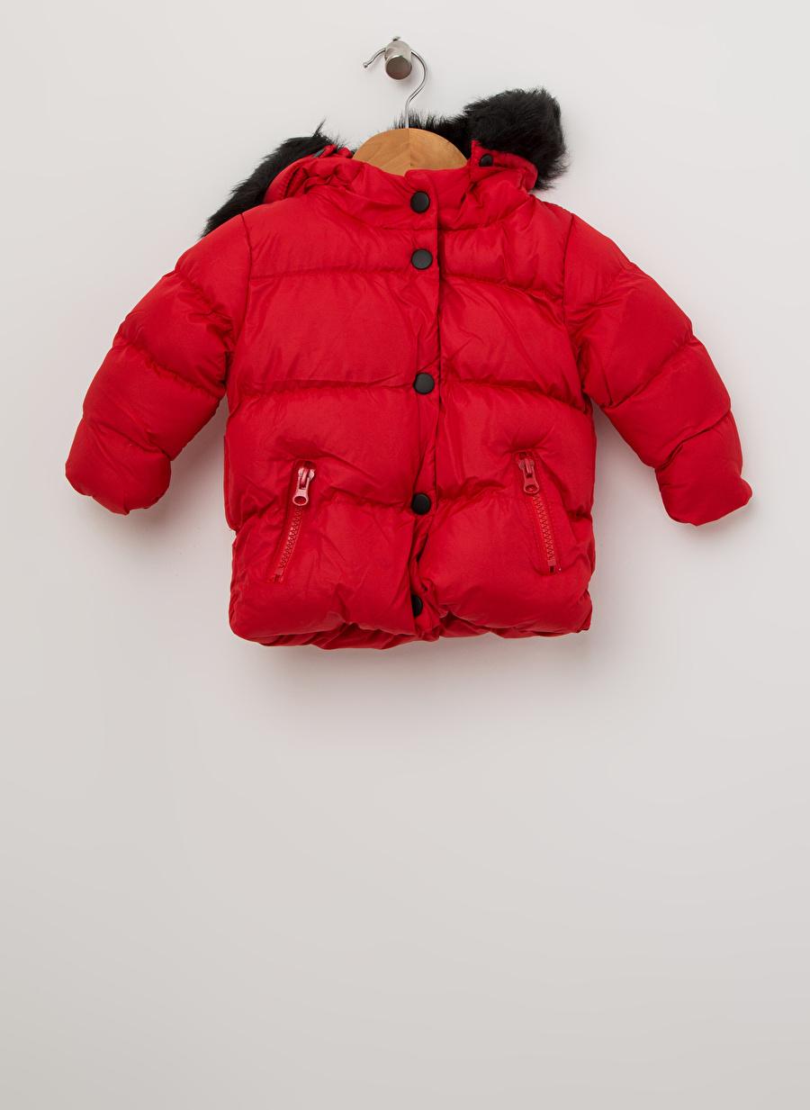 9 Ay Kadın Kırmızı Mammaramma Kız Çocuk Kürk Detaylı Kapüşonlu Mont Dış Giyim
