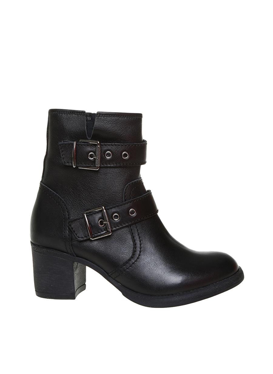 38 Siyah Black Pepper Kadın Deri Dolgu Topuklu Bot Ayakkabı Çanta Çizme