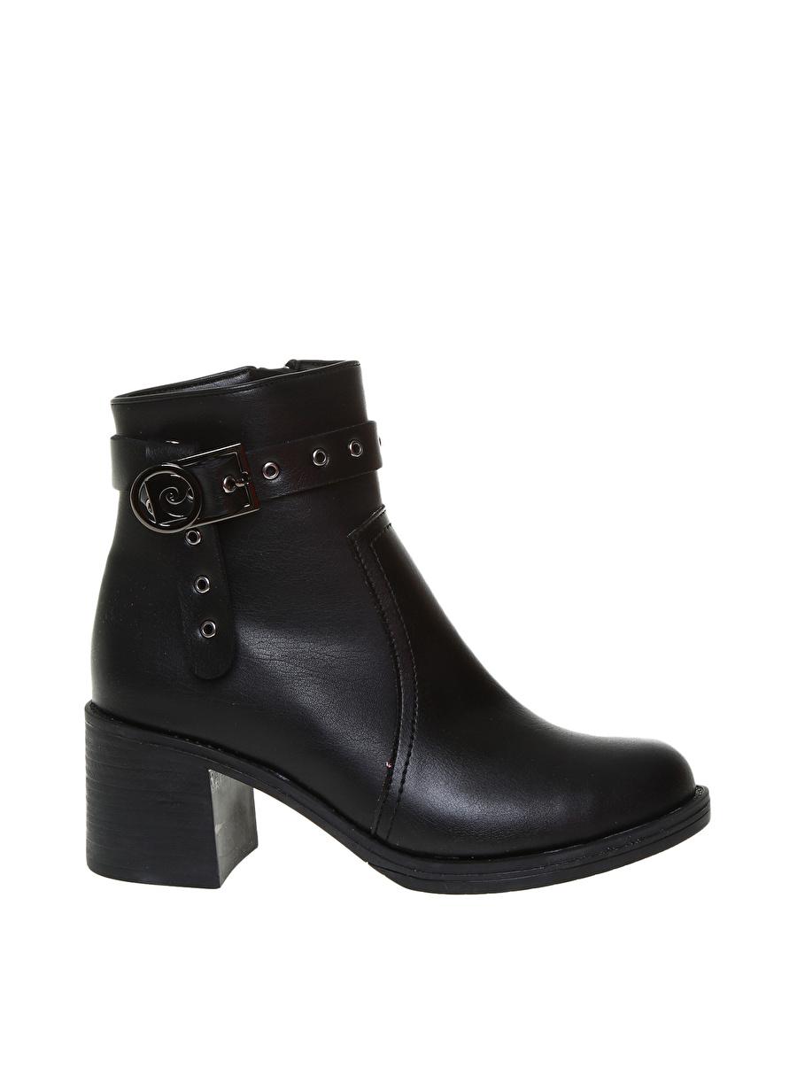 37 Siyah Pierre Cardin Kadın Dolgu Topuklu Bot Outlet Ayakkabı