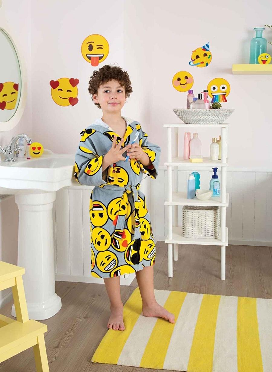 Standart Erkek Renksiz Taç Emoji 8-10 Yaş Çocuk Bornoz Ev Banyo Ürünleri Havlu
