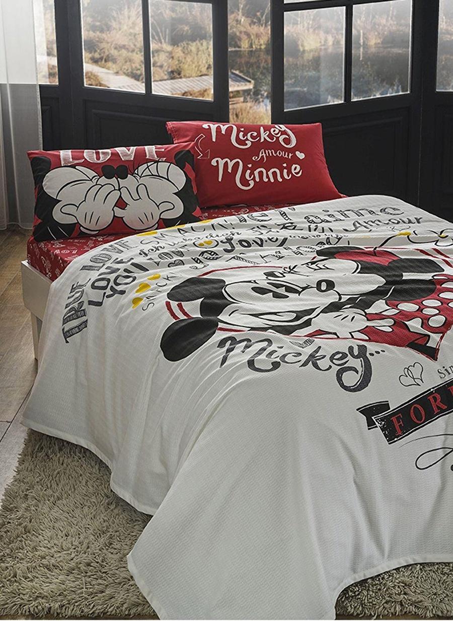 Standart unisex Renksiz Taç Disney Minnie Mickey Amour Çift Kişilik Pike Ev Tekstili Takımı