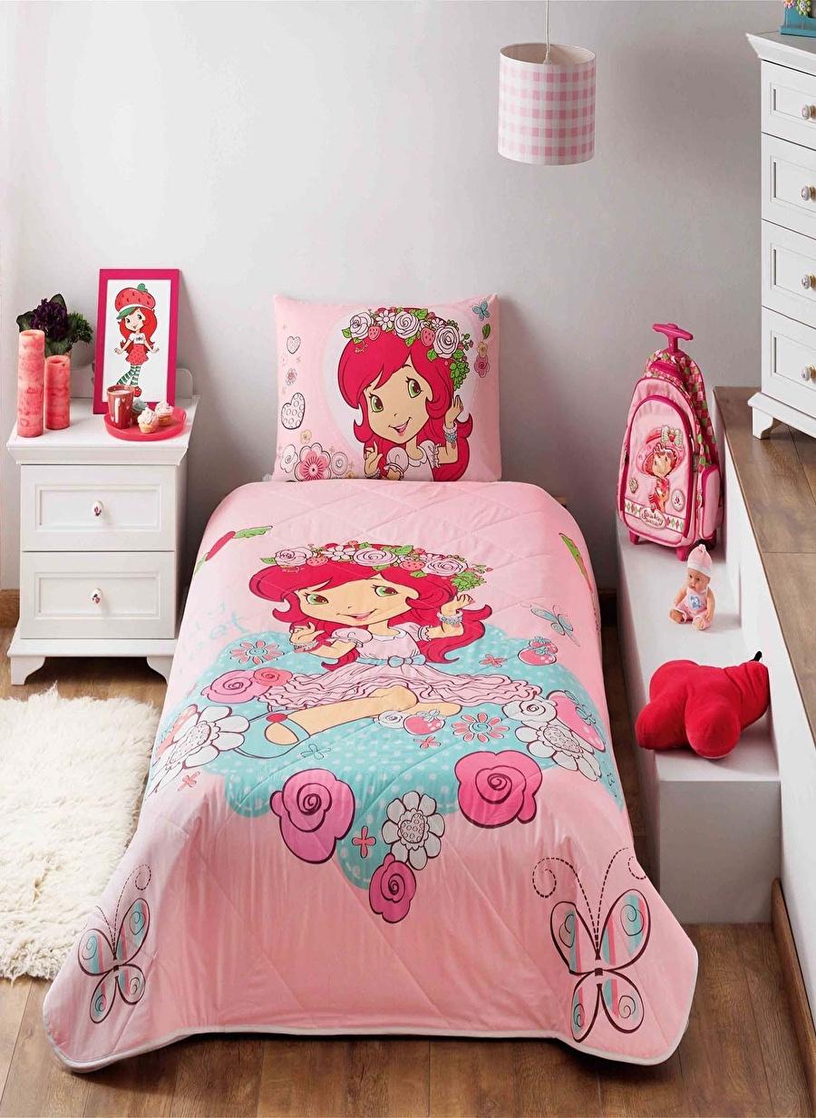 Standart unisex Renksiz Taç Strawberry Shortcake Candy Ranforce Tek Kişilik Yatak Örtüsü Ev Tekstili