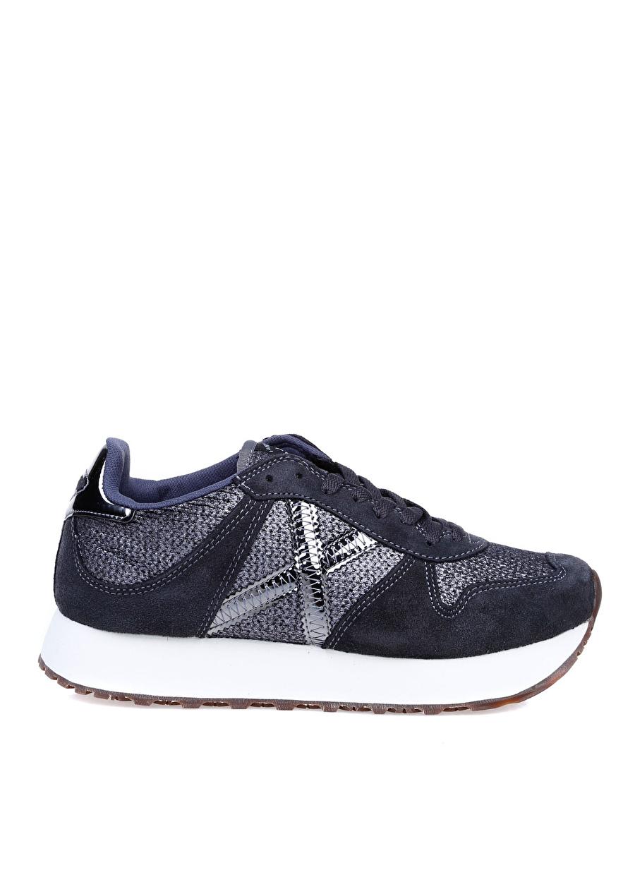 39 Antrasit Munich Kadın Gümüş-Mavi Düz Ayakkabı Çanta