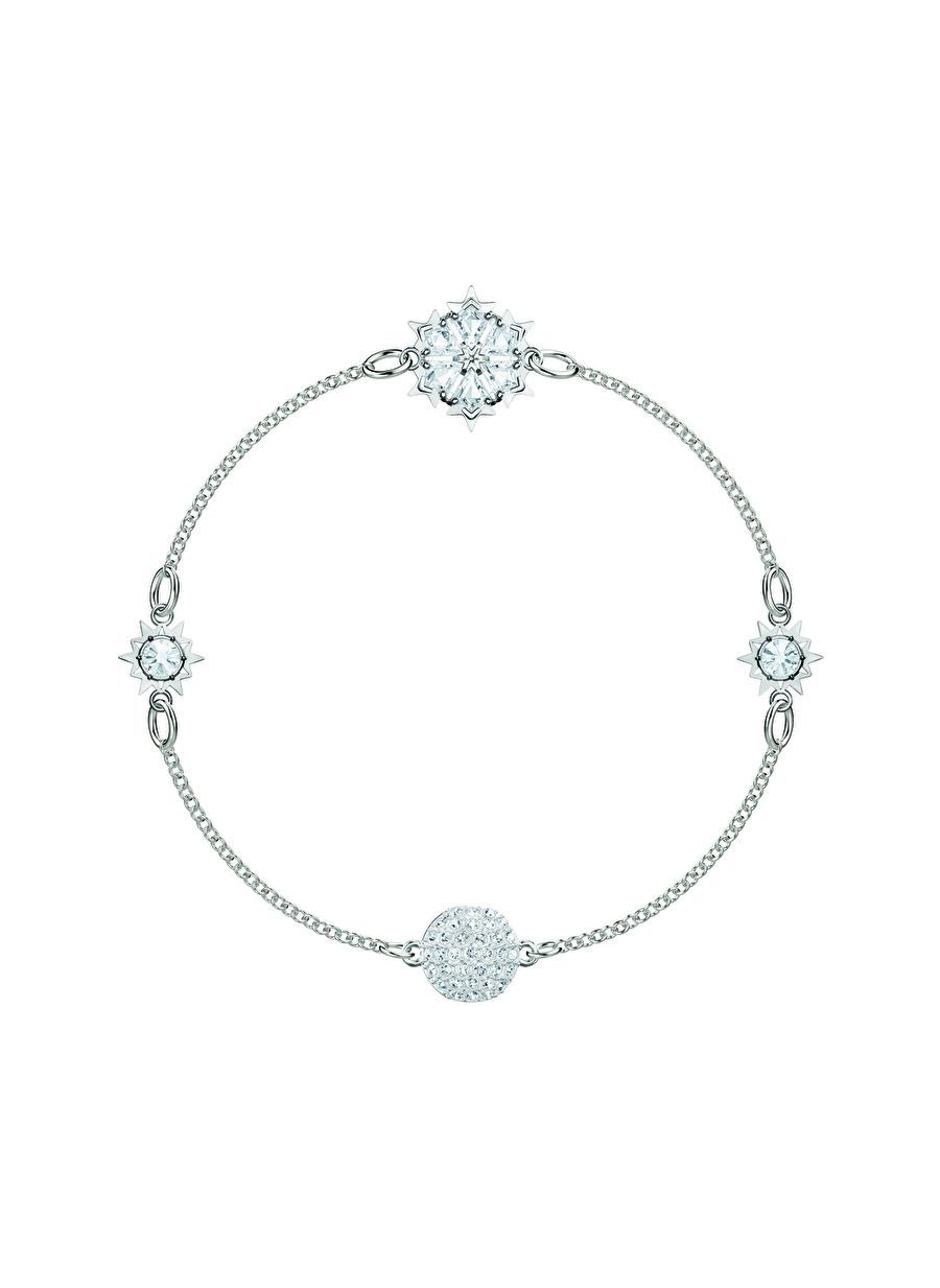 Standart Kadın Renksiz Swarovski 5451035 Remix Snowflake Beyaz Rodyum Kaplama Bileklik Jewelry Accessories (Jwg)