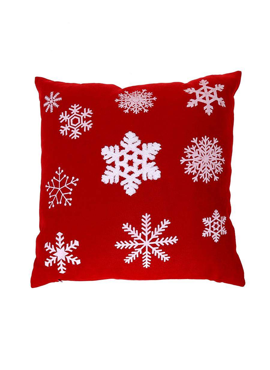 Standart unisex Kırmızı Boyner Evde Kar Tanesi Desenli Kırlent Tekstili Dekoratif Yastık