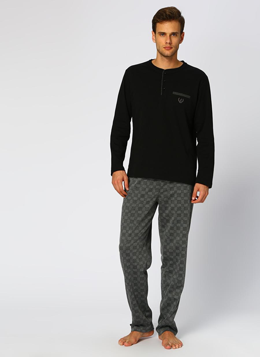 M Siyah Er_Os Dagi Lacivert Pijama Takımı Erkek İç Giyim