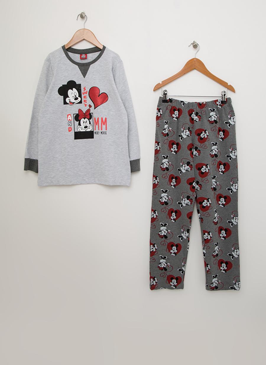 12 Yaş Kadın Açık Gri Roly Poly Mickey Mouse Baskılı Pijama Takımı Çocuk Ev İç Giyim
