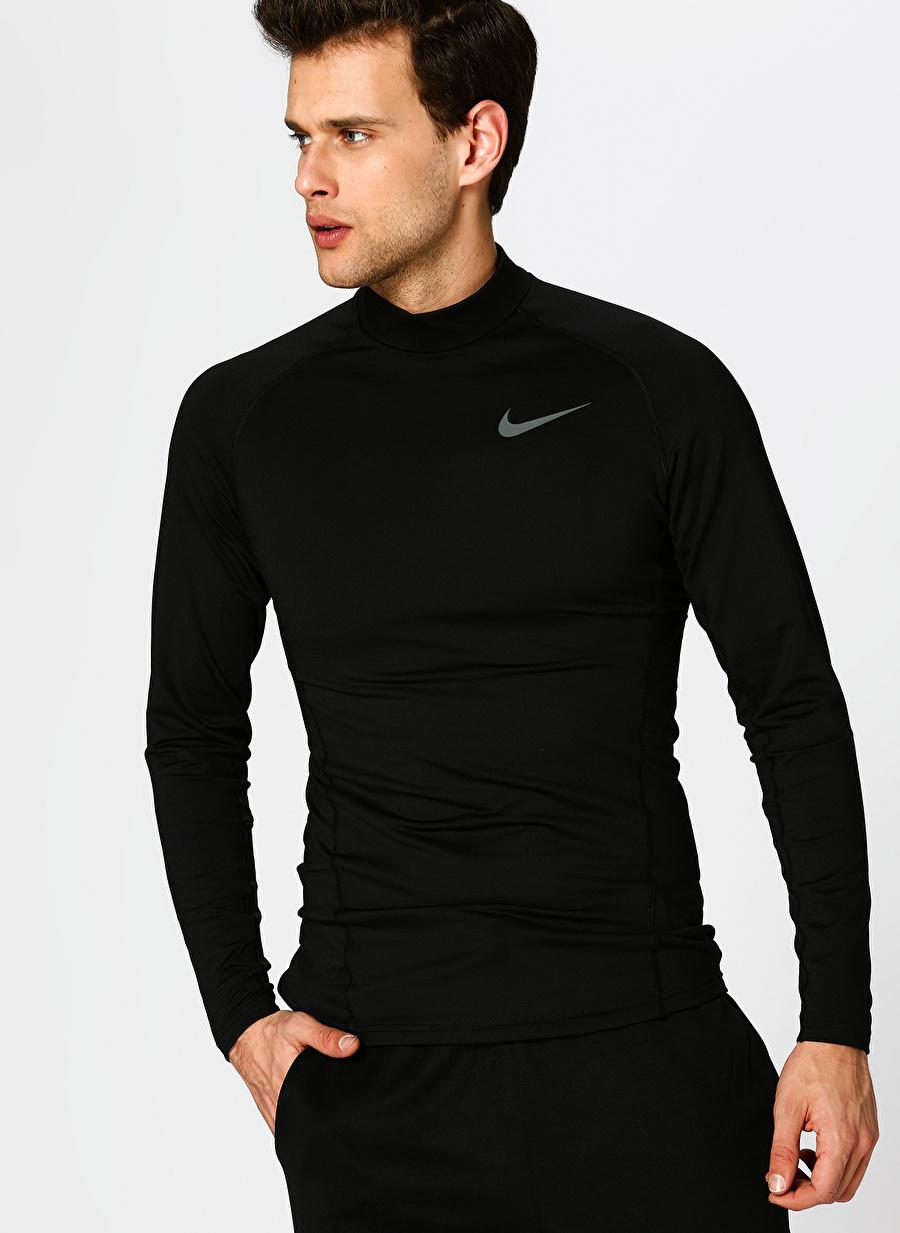 S Siyah - Gri Gümüş Nike Pro Uzun Kollu Erkek Sweatshirt Spor Giyim
