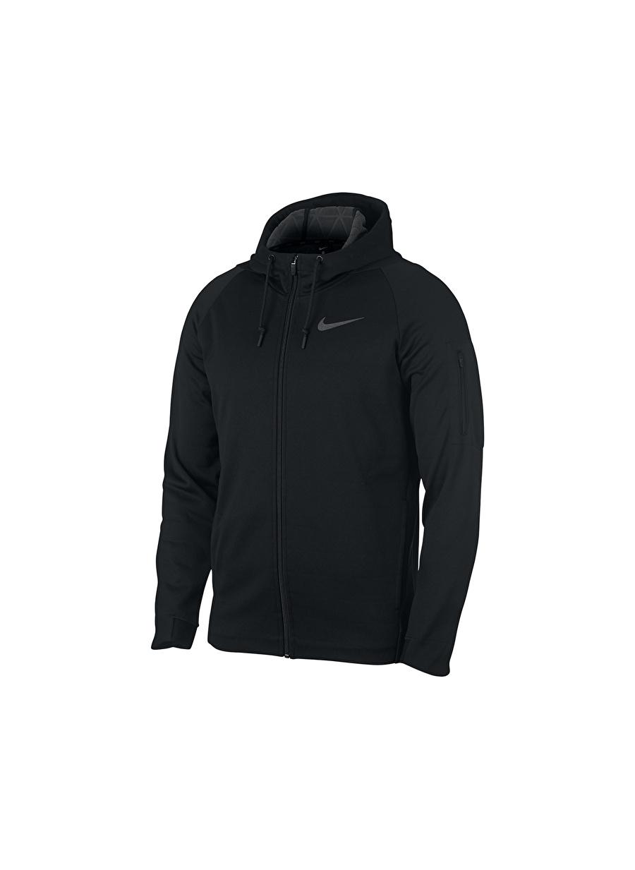 L Siyah - Gri Gümüş Nike Therma Erkek Antrenman Zip Ceket Spor Giyim Mont