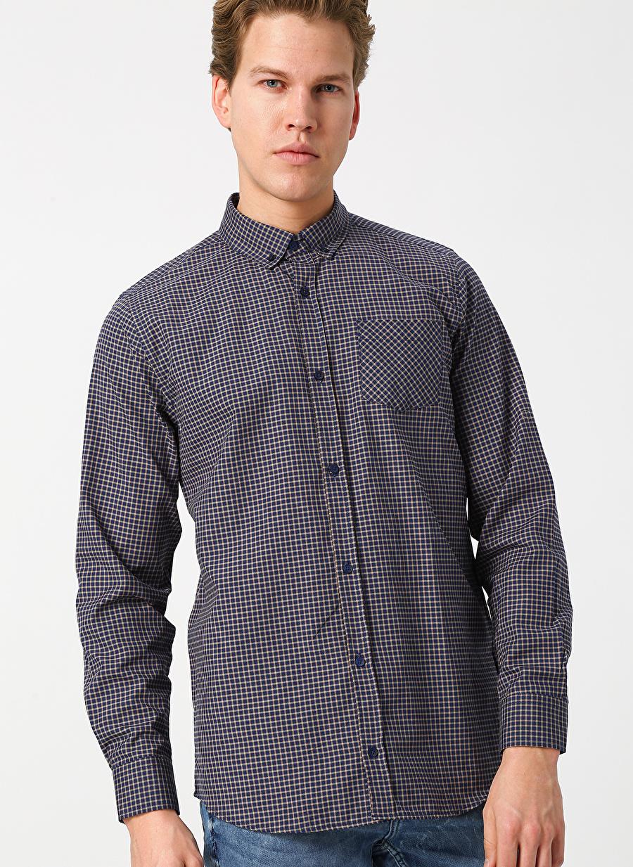 S Deve Tüyü Limon Erkek Kareli Tüyü-Lacivert Gömlek Giyim