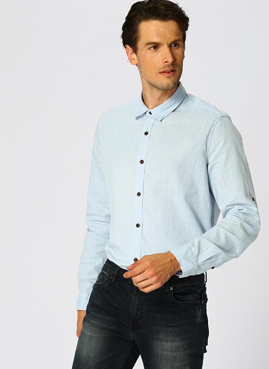 M Açık Mavi Loft Regular Fit Gömlek Erkek Giyim