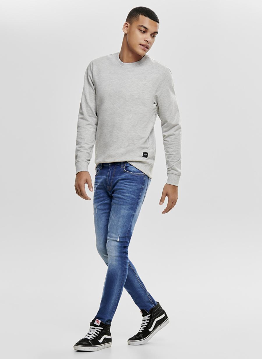 31-34 Renksiz Only amp; Sons & Eskitme Tasarımlı Skinny Denim Pantolon Erkek Giyim Jean