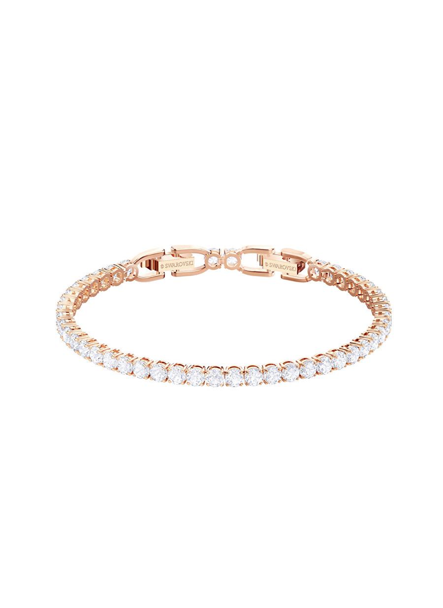 Standart Kadın Renksiz Swarovski 5464948 Tennis Beyaz Rose Altın Kaplama Bileklik Jewelry Accessories (Jwg)