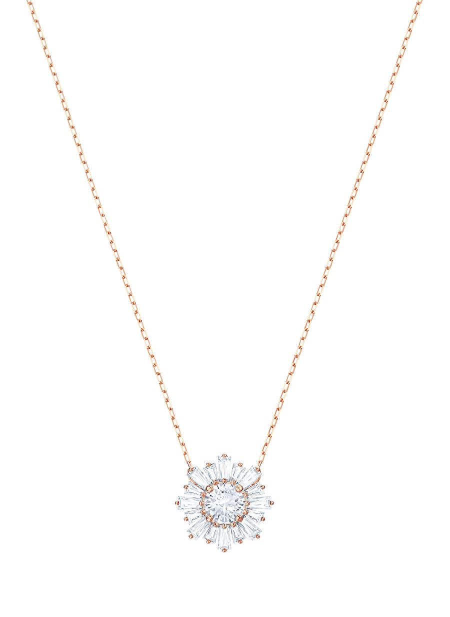 Standart Kadın Renksiz Swarovski 5451376 Sunshine Beyaz Rose Altın Kaplama Kolye Jewelry Accessories (Jwg)