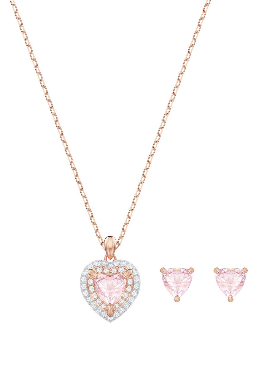 Standart Kadın Renksiz Swarovski 5470897 One Kalp ve Set Rose Altın Kaplama Takı Seti Jewelry Accessories (Jwg)