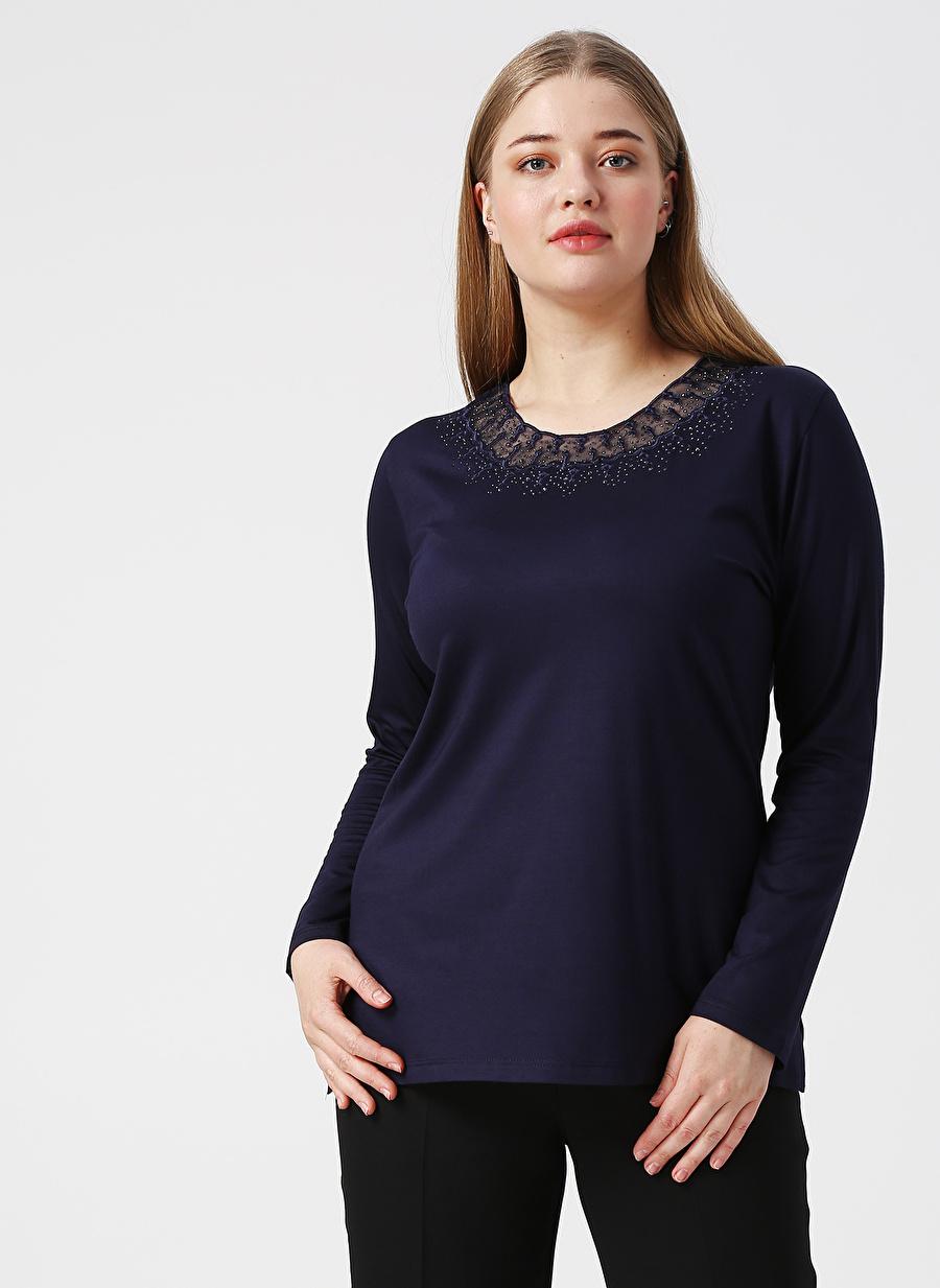 XL Lacivert Papilla Bluz Kadın Giyim Gömlek