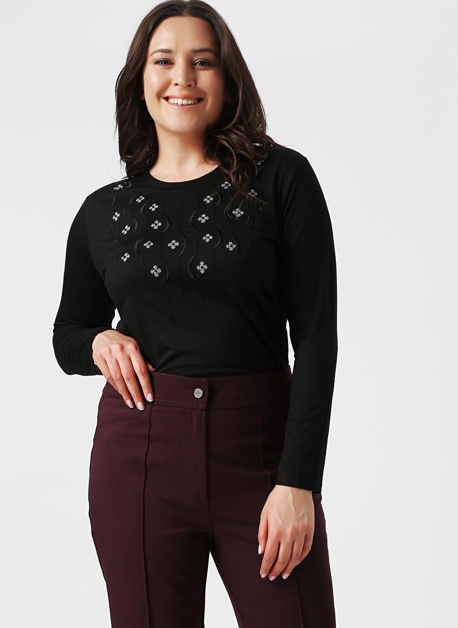 L Siyah Papilla Bluz Kadın Giyim Gömlek
