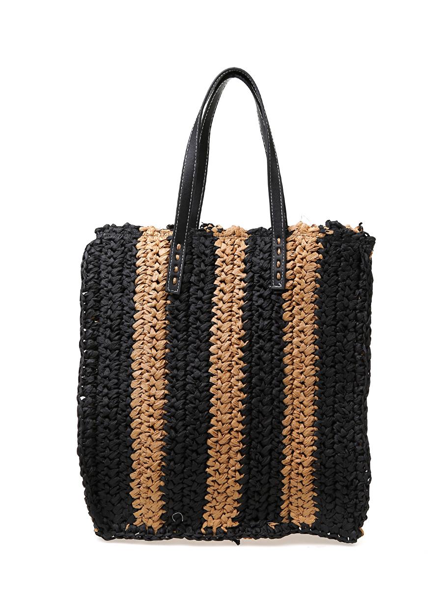 Standart Bej Koton Lacivert Desenli Plaj Çantası Kadın Modası Giyim