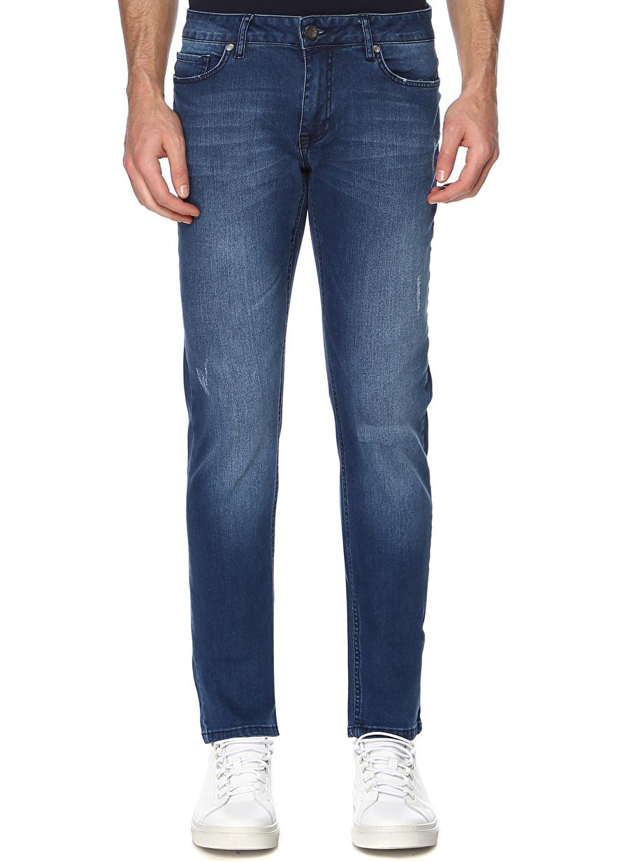 30-32 Erkek Lacivert George Hogg Eskitme Tasarımlı Mavi Denim Pantolon Bottoms Mens