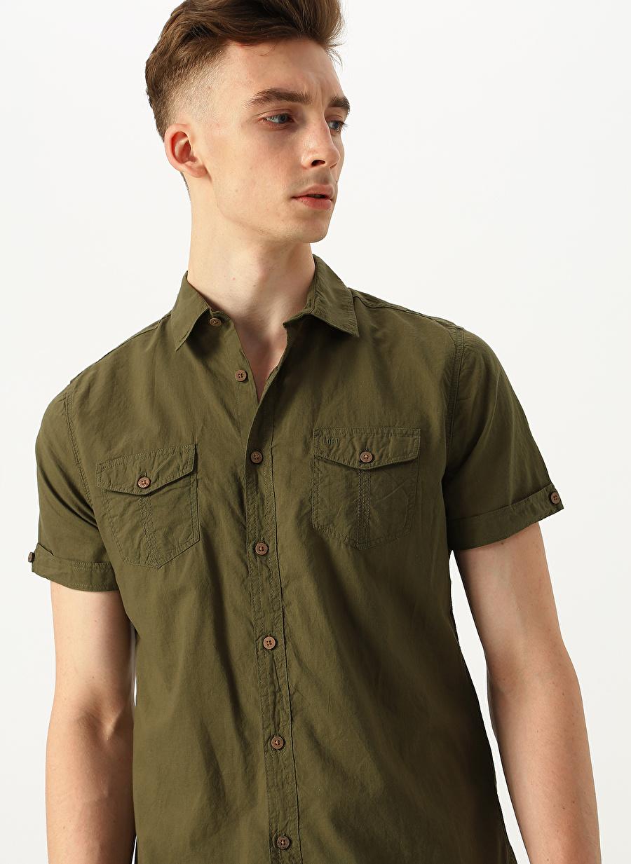 2XL Haki Loft Regular Fit Kısa Kollu Gömlek Erkek Giyim