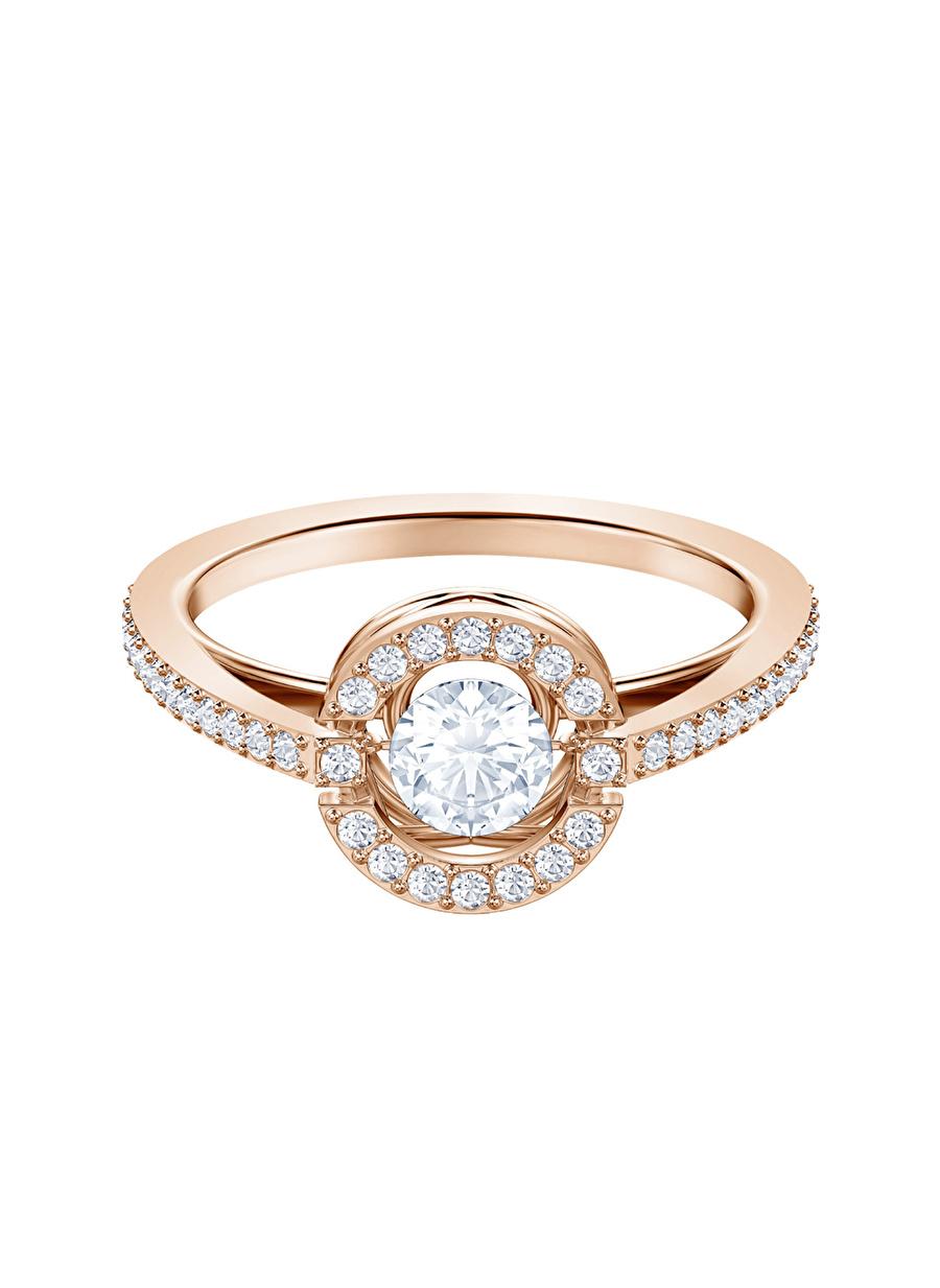 Standart Kadın Renksiz Swarovski 5479934 Sparkling Dance Round Beyaz Rose Altın Kaplama Yüzük Jewelry Accessories (Jwg)